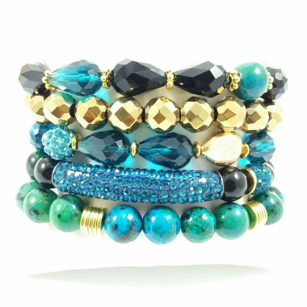 8mm and 10mm 5 Piece Chrysocolla Stretch, Beaded, Bracelet Stack Set