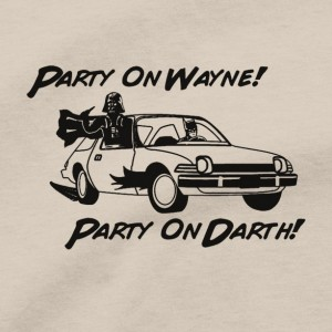 Party On Wayne Party On Darth Men's T Shirt, Garth Vader AMC Pacer Bruce Wayne Batman Unisex Cotton Tee Shirt