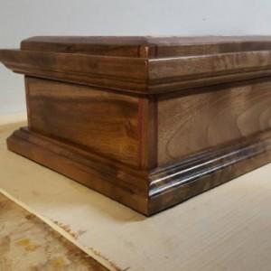 Jewelry box made from Claro walnut, buckeye burl, and purple heart