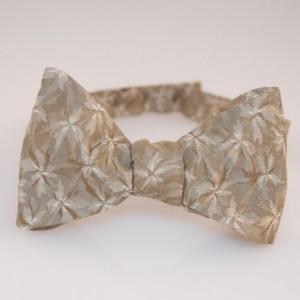 "Bow Tie - Beige Floral - 100% Silk - ""Poinsettia"""