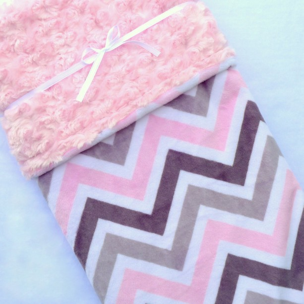 Chevron Baby Blanket - Baby Blanket - Pink and Grey Chevron with Pink Swirl Minky - Baby Girl - Baby Blanket Girl - Minky Baby Blanket