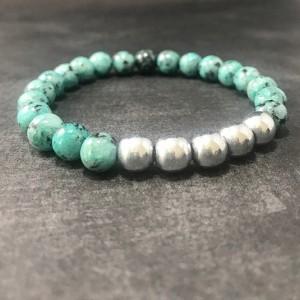The Colin | handmade beaded stretch bracelet, mint green sesame jasper, silver hematite beads, men's / unisex jewelry, Gifts for Him