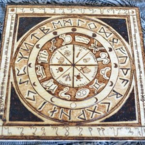 Wheel of Year Calendar Pyrography Woodburning with Runes Zodiac - 6