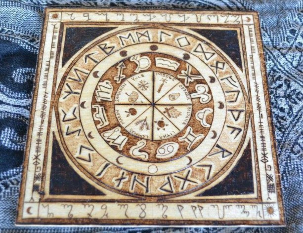 "Wheel of Year Calendar Pyrography Woodburning with Runes Zodiac - 6""x6"" Wall Hanging or Altar Piece"
