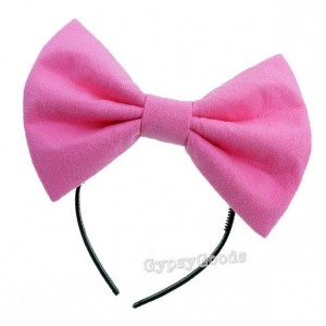 MEDIUM Hair Bow Adult Headband Flannel Red Black Pink Bright Pink Blue White Yellow Padded Bow Costume cosplay comic-con Halloween