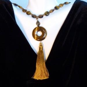 Tiger Eye & Gold Tassel Necklace