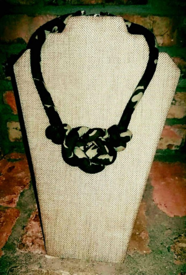 Camouflage Single Strand Knot Fabric Necklace, Textile Boho Necklace, Tribal Necklace, Boho Statement Necklace, Tribal Statement Necklace