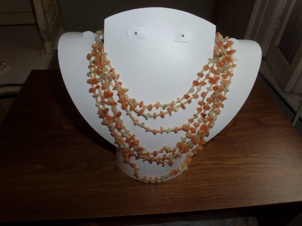 Multi Strand Red Aventurine and seed bead drape Necklace