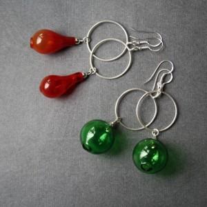 Blown Glass Earrings - Hollow Green Glass - Lightweight - Silver Shackle