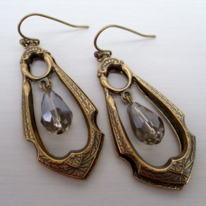 Lovely Smoky Crystal Drop Brass Earrings