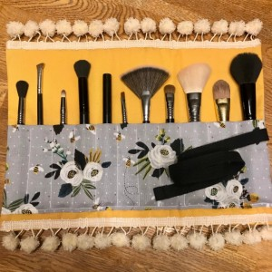 Yellow & Gray Bumblebee Rose Makeup Brush Roll Case with Pompom Trim