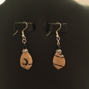 """Silver Findings with Real Onyx and """"Painted"""" Jasper Drop Earrings"""