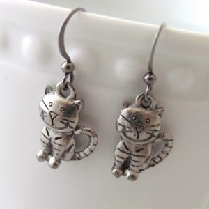 Cat Earrings Cartoon Cat Earrings Striped Cat Earrings Pewter Cat Earrings Smiling Cat Earrings Cat Jewelry