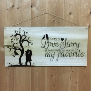 Love Story Bird Heart Hand Burned Wood Sign Decor
