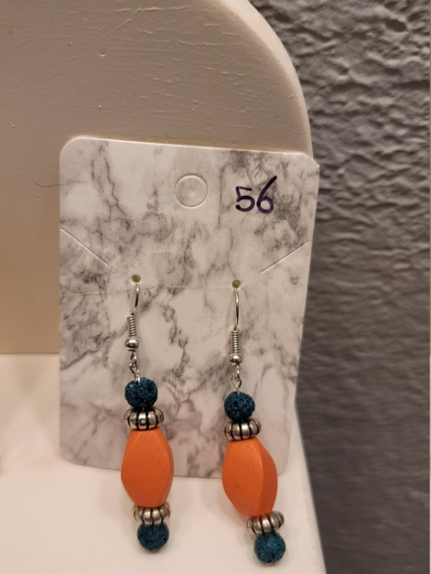 Green and orange bead earrings