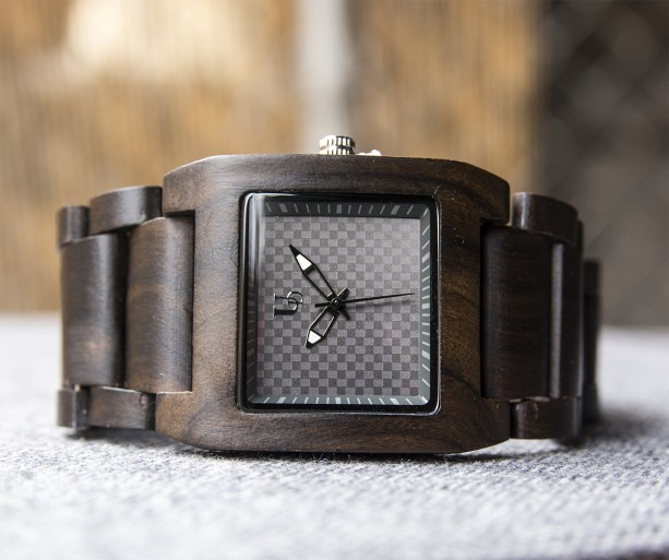 UD Personalized/Engraved Exotic Dark Square Wooden Watch, Gift for him