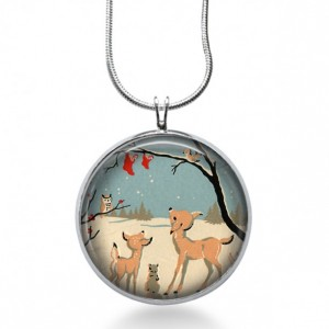 Woodland Deer Necklace - Winter Jewelry - Animal Pendant - Snow