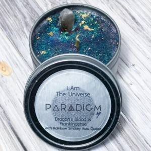 I AM The Universe Candle made with 100% Soy Wax, Frankincense and Dragon Blood Oils, Smokey Aura Quartz, Manifestation, Empowerment
