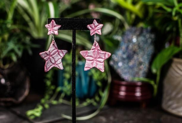Cute polymer clay star dangle earrings