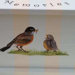 Bird nest baby keepsake chest - personalized memory box baby gift