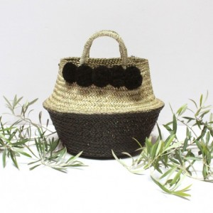 Black Pom Poms Double Woven Sea Grass Belly Basket Panier Boule Storage Nursery Beach Picnic Toy Laundry, Dipped Belly Basket