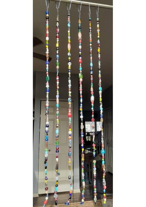 6 Strands - Handmade Bead Curtain / Suncatcher/ Boho / Hippy / Beaded Curtain / Bead Suncatcher / Bohemian/ Retro / Portière