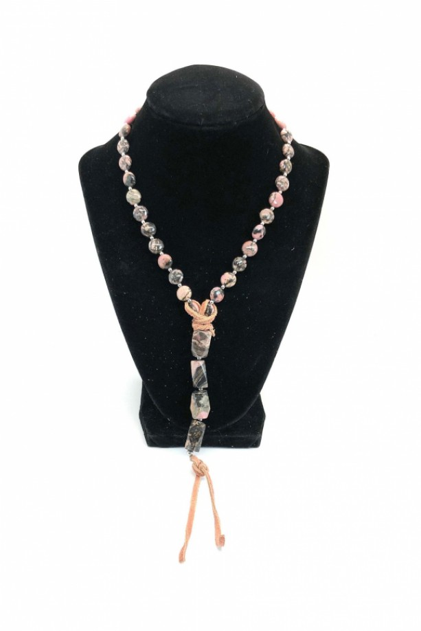 Boho Rhodonite Necklace with Stainless Steel and Leather.