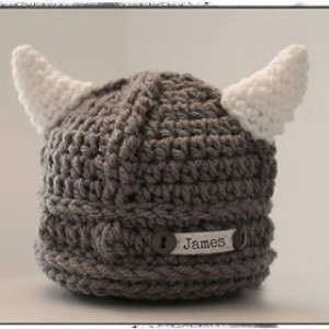 Personalized Viking Hat, Baby Preemie Newborn Viking Hat.  Newborn Photo Prop