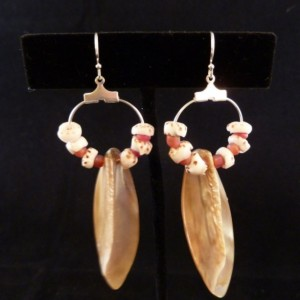 Iridescent Shells with Hawaiian Tiger Puka Shells and Pink Sea Glass Bead Hoop Earrings