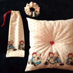 Gift Set, Handmade Lot, Valentines Day Gift for Her, Raggedy Ann and Andy, Handsewn Pillow, Drawstring Gift Bag,Scrunchie, Perfect Vday gift