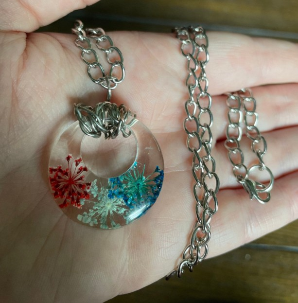 Red, White and Blue Firework Pendant Necklace