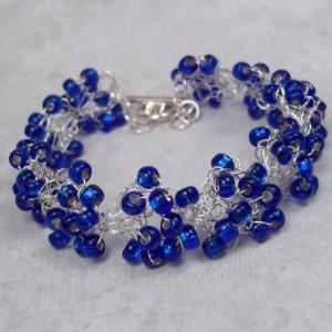 Cobalt Blue Preciosa Crystal Bracelet Wedding Bridal Bracelet Summer Bride Bridesmaids Jewelry Seed Bead Hand Crocheted Silver Plated Wire