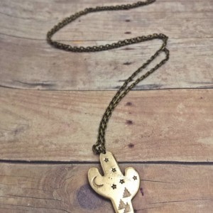 Brass or Copper Cactus Night Sky Necklace