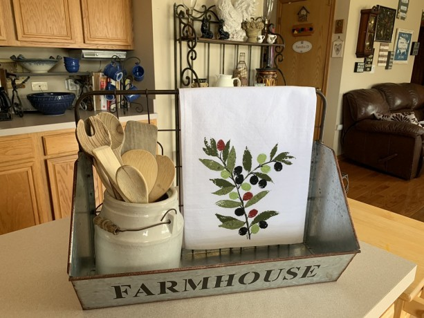 Olive branch kitchen decor, flour sack dish towel, mom gift for her, mothers day from daughter,Mediterranean kitchen, best selling