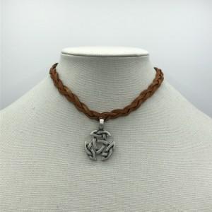 "15"" Leather Celtic Choker Necklace"