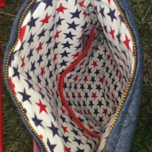 Americana Patriotic Embroidered Hearts Crossbody/Messenger Tote Bag