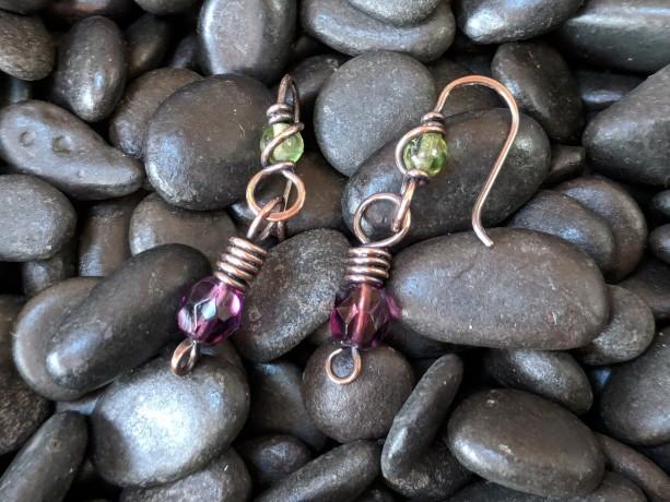 Scottish thistle copper dangle earrings