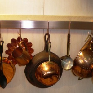 Wall Mounted Brushed Finish SOLID COPPER 24 W x 5 D x 1-1/2 H Pot Rack & 5 Double Pot Hooks - FREE Shipping to U S Zip codes