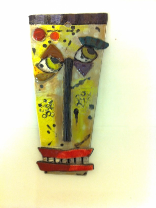 Handbuilt Pottery Abstract Face/Mask Wall Hanging