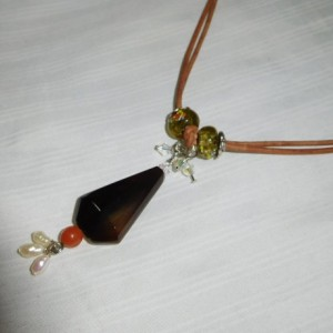 Smoke quartz  Necklace with Millefiori Rondelle Glass Beads, orange agate , pearls and crystals pendant #N00113