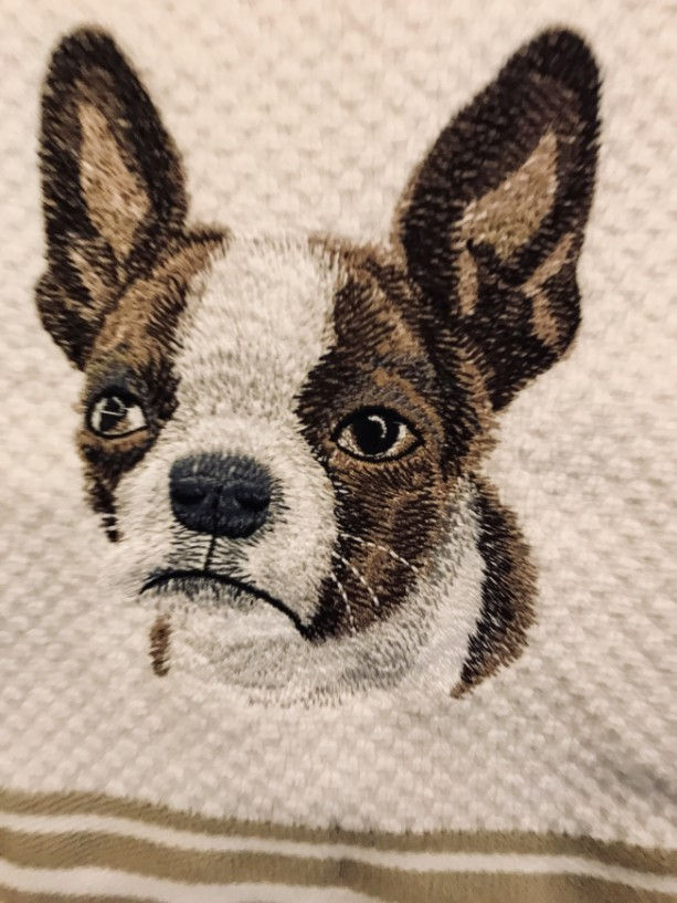 BOSTON TERRIER BROWN. Embroidered Kitchen Towel. A Great Boston Baby Towel For Your Home. Perfect All Occasion Gift. White~You Choose Stripe