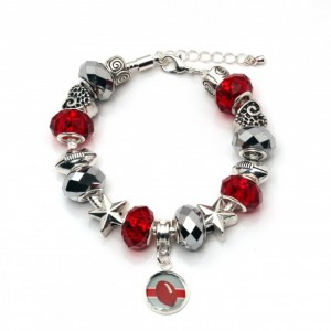 OHIO STATE BRACELET WITH DANGLING FOOTBALL CHARM
