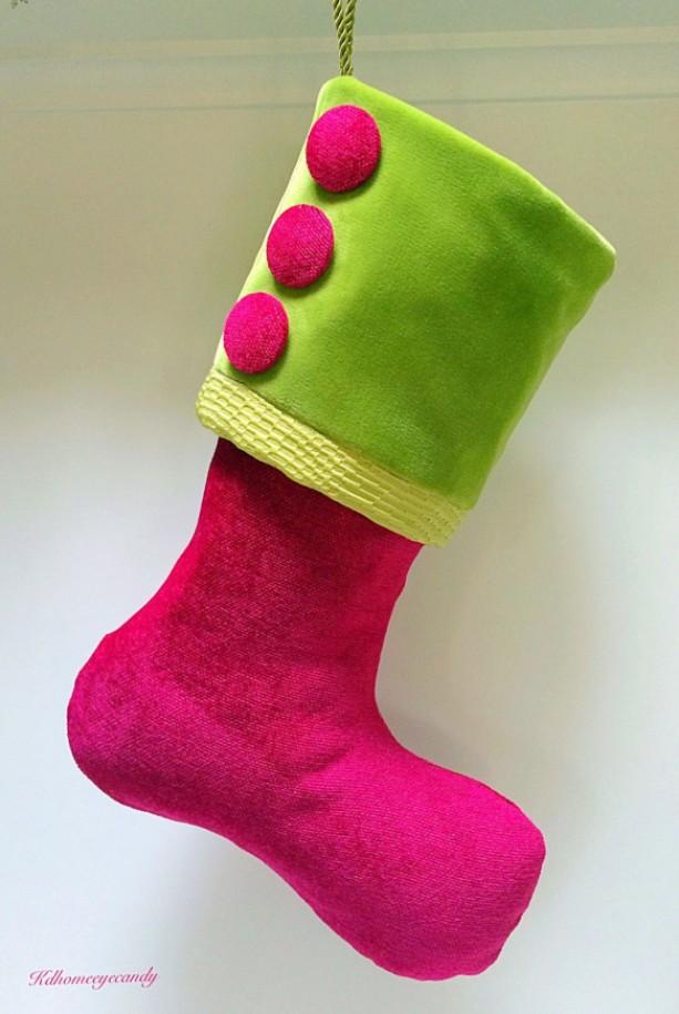 Pink Christmas Stocking.Pink Christmas Stocking Pink And Green Christmas Stocking Pink Stocking Green Stocking