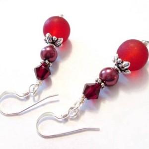 Sea Glass Pearl Beads Dangle Earrings, Glass Burgundy Earrings, Bridesmaid Earrings, Cranberry Earrings, Jewelry Sale, For Her, Friend Gift