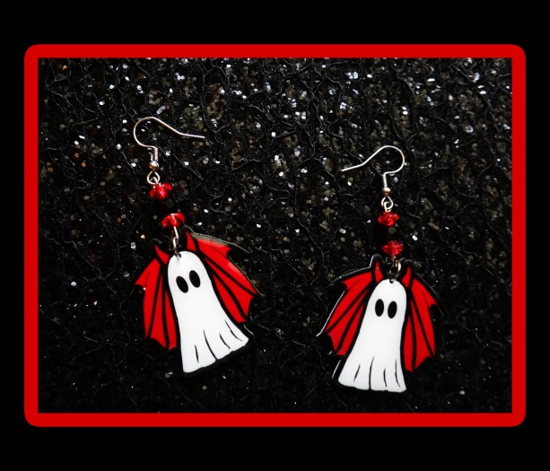 Cute and Spooky Lil' Devil Ghost Halloween Earrings