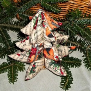 Fabric Christmas tree, Musical print tree, Music lovers gift, soft sculpture christmas tree