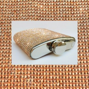 Rose Gold Crystal Rhinestone 6oz Bling Flask