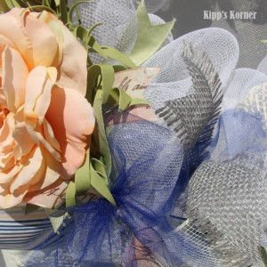 Cream Wreath, Spring Wreath, Deco Mesh Wreath, Ribbon Wreath, Mesh Wreath, Floral Wreath, Mesh Wreath, Peach Wreath, Blue Wreath