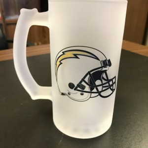 Custom Made San Diego Chargers Frosted Beer Stein 16 oz Glass Mug