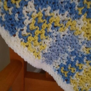 Blue, Yellow and White Baby Blanket